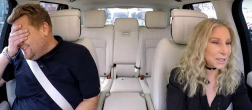 James Corden is daunted by Barbra Streisand's driving on Carpool Karaoke. [image source: TheLateShowwJamesCorden-YouTube]