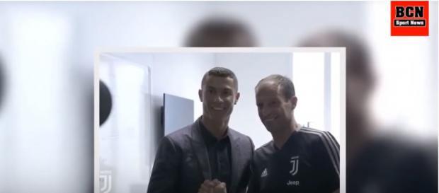 Allegri com Cristiano Ronaldo [Imagem via YouTube]