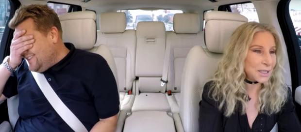 James Corden is daunted by Barbra Streisand's driving on Carpool Karaoke. [image source: TheLateShowwJamesCorden-YouTube]