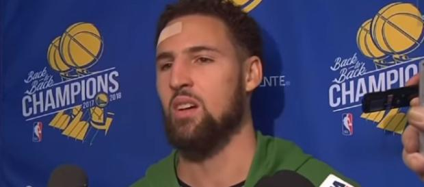 Klay Thompson gives interview after hitting 14 three-pointers in one game. - [Acropoe / YouTube screencap]