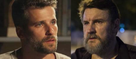 Gabriel e Egídio se revelam pai e filho em O Sétimo Guardião. (foto reprodução).