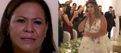 Marília Mendonça canta para a mãe em seu casamento - Foto/Globo Play/Instagram