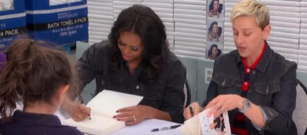 "Michelle Obama on a book tour for her memoir ""Becoming."" [Image source/TheEllenShow YouTube video]"