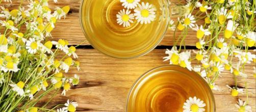 O chá de Camomila tem ação calmante e auxilia na redução do inchaço. (foto reprodução).