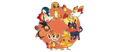 Os 7 Pokémon iniciais do tipo Fogo.