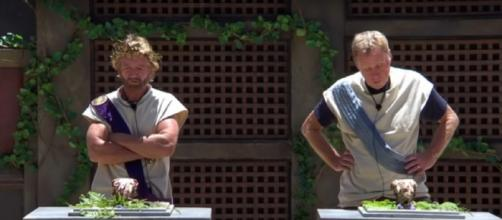 Noel and Harry get a taste of Sheep's Brain in Nero to Zero (Image credit: I'm A Celebrity...Get Me Out Of Here!/ITV YouTube.com)