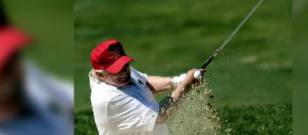 Donald Trump's 13 golf outings as President. [Image source/MSNBC YouTube video]