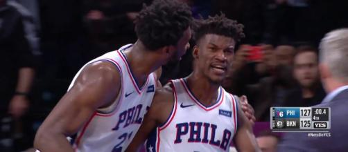 Jimmy Butler hit a game-winning three-point shot to help the Sixers win in Brooklyn on Sunday. [Image via YES Network/YouTube]