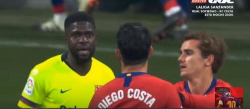 Umtiti, Costa e Griezmann [Imagem via YouTube]