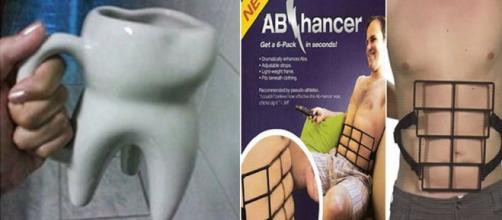 A caneca no formato de um dente e o Ab Hancer são produtos que chamam muito a atenção das pessoas. (foto reprodução).
