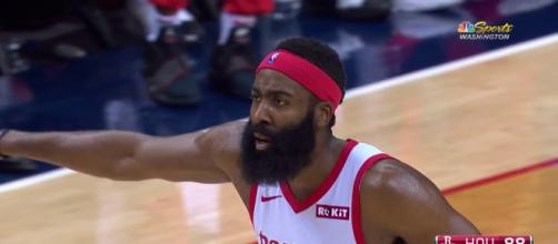 James Harden put up 50 points or more for the 10th time in his NBA career. [Image via NBC Sports Washington/YouTube screencap]