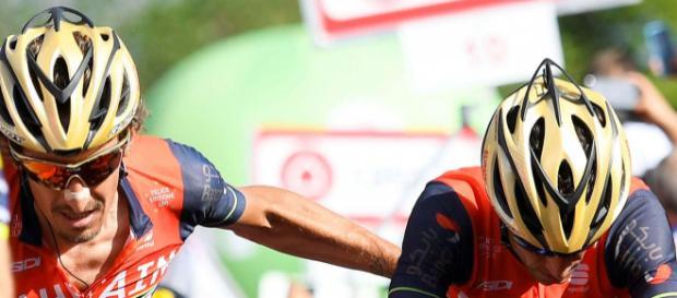 Franco Pellizotti insieme a Vincenzo Nibali