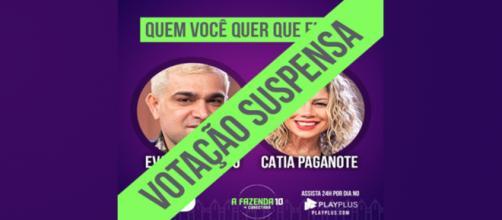 Evandro Santo e Catia Paganote estavam na rota, em votação para eliminação de um deles. (Imagem/reproduçãoR7)