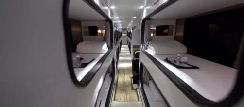 Travel from Los Angeles to San Francisco in Cabin, a hotel bus. [Image Bring Me/YouTube