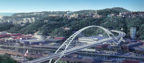 Alcune immagini tratte dal video rendering relativo alle ipotesi progettuali per la costruzione del nuovo Ponte Morandi