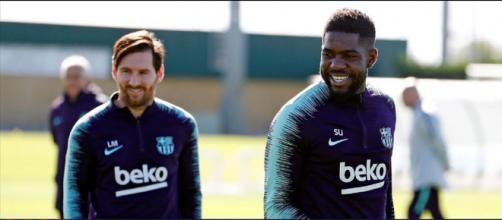 Leo Messi e Umtiti [Imagem via YouTube]