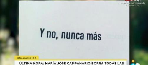 Mensaje que María José Campanario ha dejado en su Facebook. / Telecinco