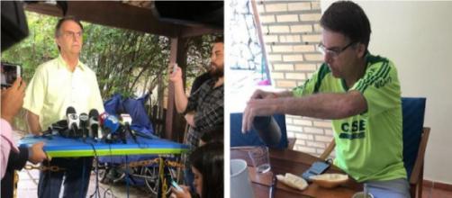 Bolsonaro já utilizou prancha como mesa para microfones da imprensa, nas mídias também já postou tomando café - Montagem/Reprodução - Instagram