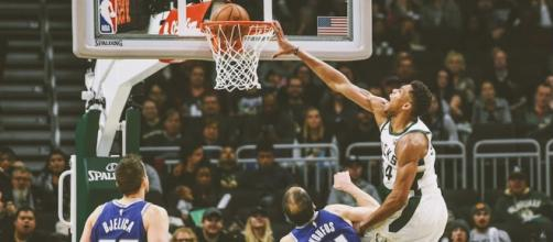 The Greek Freak was back at it on Sunday recording a triple-double and posterizing the Kings. [Image source: Bleacher Report/YouTube]