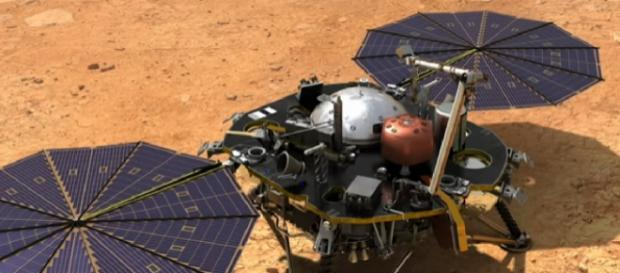 Artist's concept of NASA's InSight when it lands on Mars. [Image source/SciNews YouTube video]