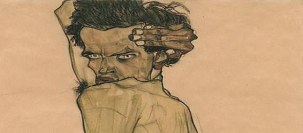 Egon Schiele depicted figures not only extra thin but also extra angular. [Image Source: Wmpearl/Wikipedia Commons]