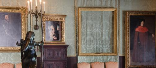 The empty frames indicating where paintings were stolen from the Isabella Stewart Gardner Museum