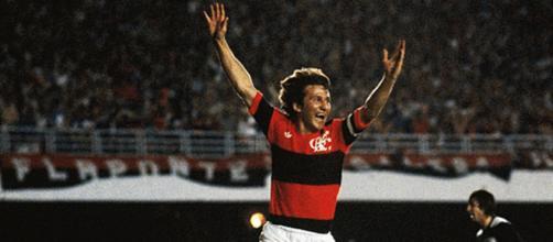Zico, o maior artilheiro da história do Flamengo.