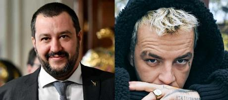 Matteo Salvini a sinistra, Salmo a destra.