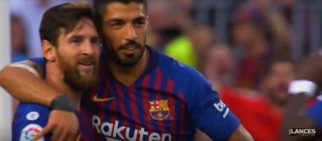 Messi e Suárez [Imagem via YouTube]