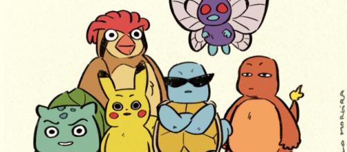 A equipe Pokémon de Ash desenhada pelo artista Paulo Moreira.