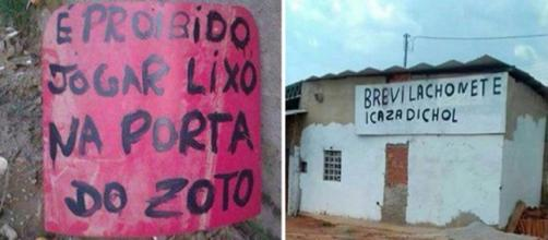 Placas com erros português absurdos. (Via Pirterest)