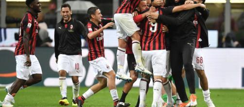 Esultanza del Milan a San Siro nell'ultimo match casalingo