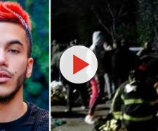 Sfera Ebbasta a sinistra, immagini della tragedia a destra.