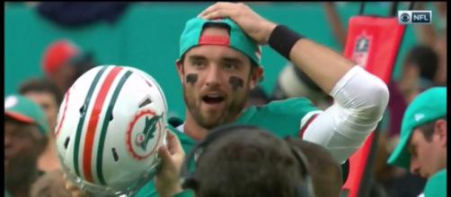 Even the Dolphins bench couldn't believe they won the game. - [budleewiser / YouTube screencap]