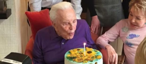 Kirk Douglas at 101st birthday. - [Inside Edition / YouTube screencap]