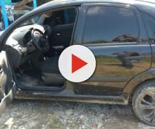 Carro utilizado por suspeito para estuprar garota de 14 anos (Foto: G1 Santos)