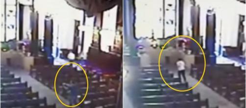 Homem ataca fiéis em igreja. (reprodução: RedeTV)