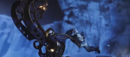 A Guardian riding the Dawning Cheer. [Image source: xHOUNDISHx/YouTube]