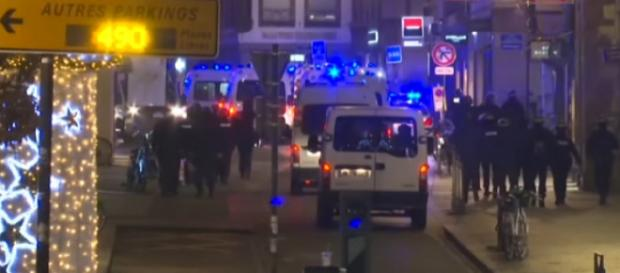At least two dead and several injured in Strasbourg shooting. [Image source/ The Telegraph YouTube video]