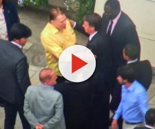 Silvio Santos recebe Jair Bolsonaro para almoço (Reprodução: TV Globo)