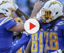 The Chargers try to take over first place tonight against the Chiefs. [Image via USA Today/YouTube]