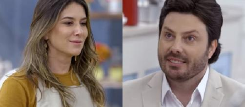 Danilo Gentili se ajoelha e se declara para Rebeca Abravanel. (Reprodução).