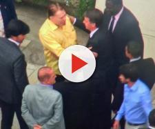 Silvio Santos recebe Jair Bolsonaro em sua mansão. (Reprodução: TV Globo)