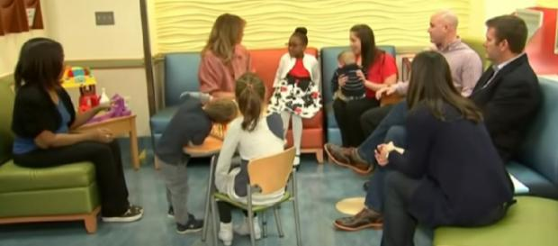 Melania Trump visits children's hospital. [Image source/Associated Press YouTube video]