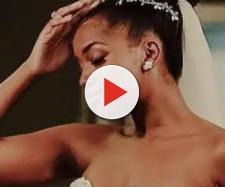 Iza e seu vestido de noiva repleto de tule (Reprodução Caras)