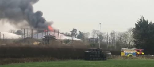 A large fire has broken out at Chester Zoo. [Image source/Glasgow YouTube video]