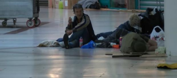 London shopping centre become an unofficial homeless shelter by night. [Image source/BBC London YouTube video]