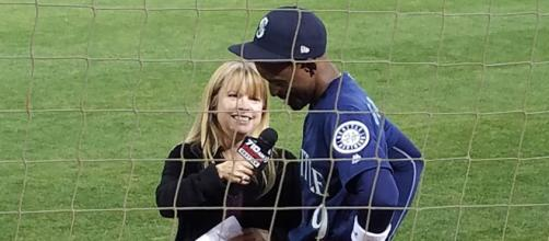 Dee Gordon being interviewed. [image source: Keith Allison- Flickr]