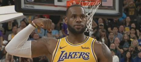 LeBron and the Lakers are in a featured Christmas Day 2018 NBA game against the Warriors. - [ESPN / YouTube screencap]