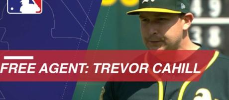 RHP Trevor Cahill has signed with the LA Angels for a one year deal. [Image source: MLB - YouTube]
